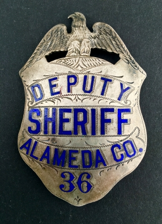 Alameda Co. Deputy Sheriff badge #36, sterling silver, hand engraved.