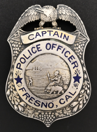 Fresno Police Captain badge circa 1921.  Sterling silver.