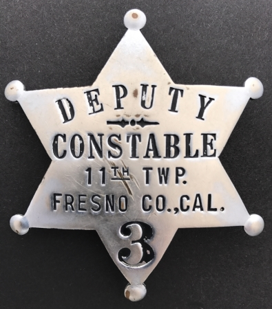 Fresno Co. deputy constable  badge #3 for the 11th Twp. (Kerman) circa 1915.