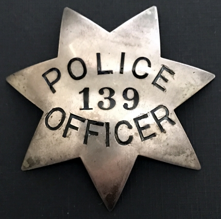 Oakland Police Officer Edward K. Long badge 139.