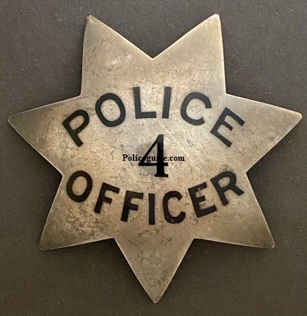 Oakland Police badge #4 worn by C. H. Bock who was appointed 12-1-1901.