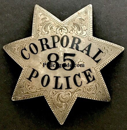 Oakland Police Corporal badge #85 worn by Michael Joseph O'Reilly.