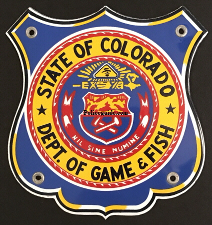 State of Colorado Dept. of Game & Fish Porcelain Sign.