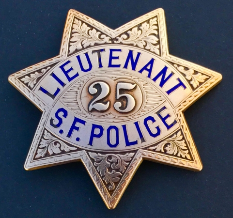 Charles Pfeiffer�s 14k gold San Francisco Police Lieutenant badge #25, circa 1925.