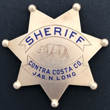 Sheriff James Long's 14k gold presentation badge, hallmarked Shreve & Co.  14k.