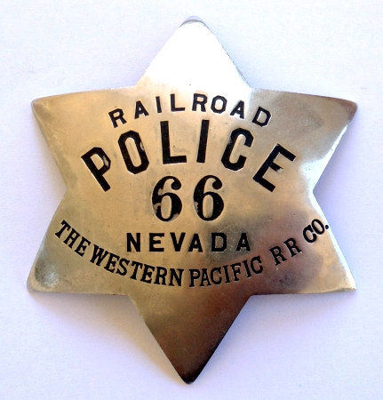 Railroad Police 66 Nevada The Western Pacific R.R. Co.  Made by Irvine & Jachens 1068 Mission St. S.F.