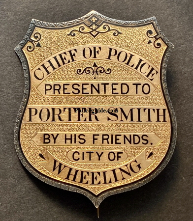 Beautiful gold overlay on sterling silver presentation badge.  Enameled engraving around the border adds to the appeal of this Wheeling, West Virginia badge presented to Porter Smith.  Circa 1885.