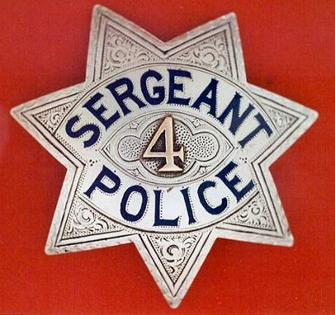 Sacramento Sergeant badge #4 made by Sacramento jeweler J. N. Phillips.